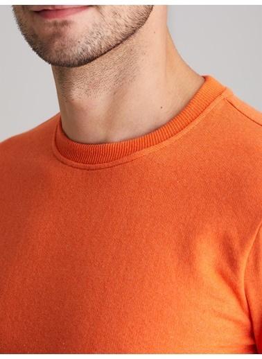 Dufy A.Grı Bısıklet Yaka Düz Erkek Sweatshırt - Slım Fıt Oranj